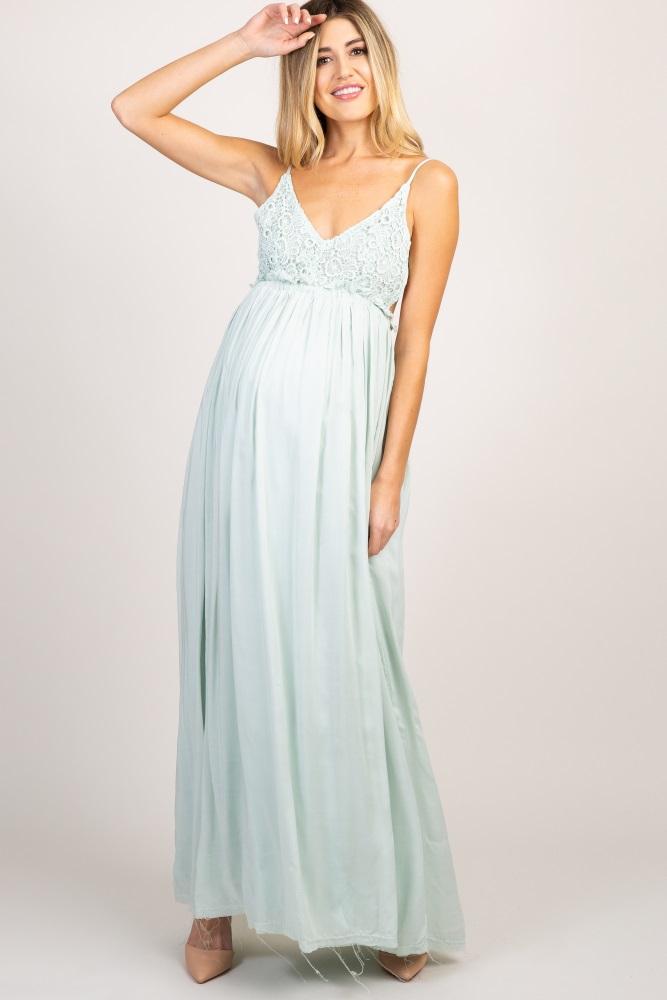 4651fc14ed249 Mint Green Lace Top Pleated Waist Backless Maternity Maxi Dress