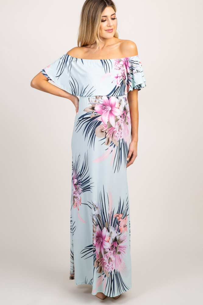 32c29987fa882 Mint Green Floral Ruffle Off Shoulder Maternity Maxi Dress