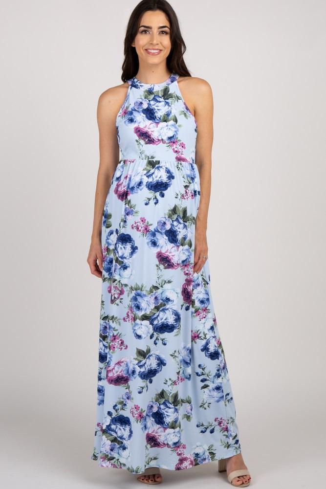 51a12ae9c1c5d Light Blue Floral Maternity Maxi Dress