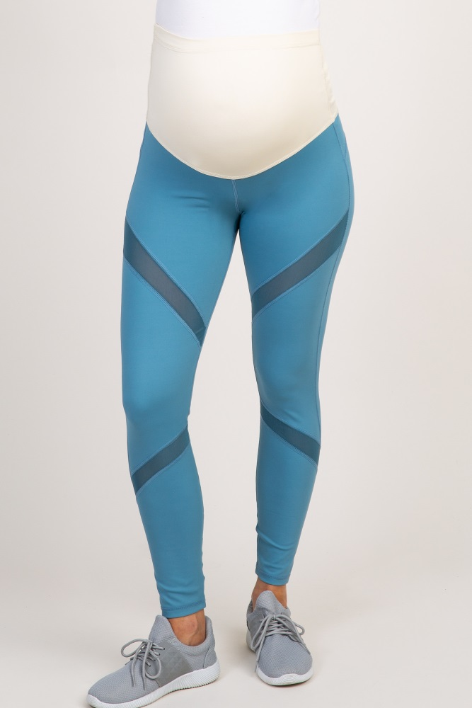 3e182f05d3f13 Blue Mesh Panel Maternity Leggings