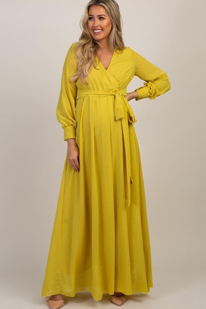 b35abff989a Yellow Chiffon Long Sleeve Pleated Maternity Maxi Dress
