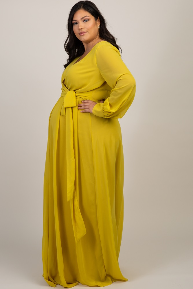 Yellow Chiffon Long Sleeve Plus Maternity Maxi Dress