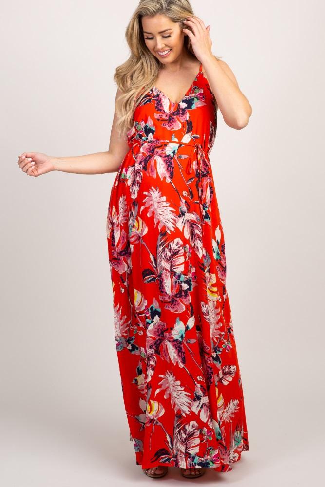 d259607ddb2 Red Floral Self Tie Maxi Maternity Maxi Dress