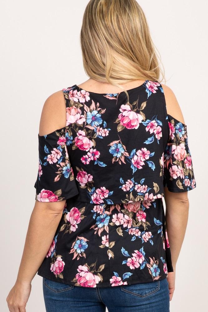 2084a5abb7d86 Black Floral Cold Shoulder Layered Maternity/ Nursing Top