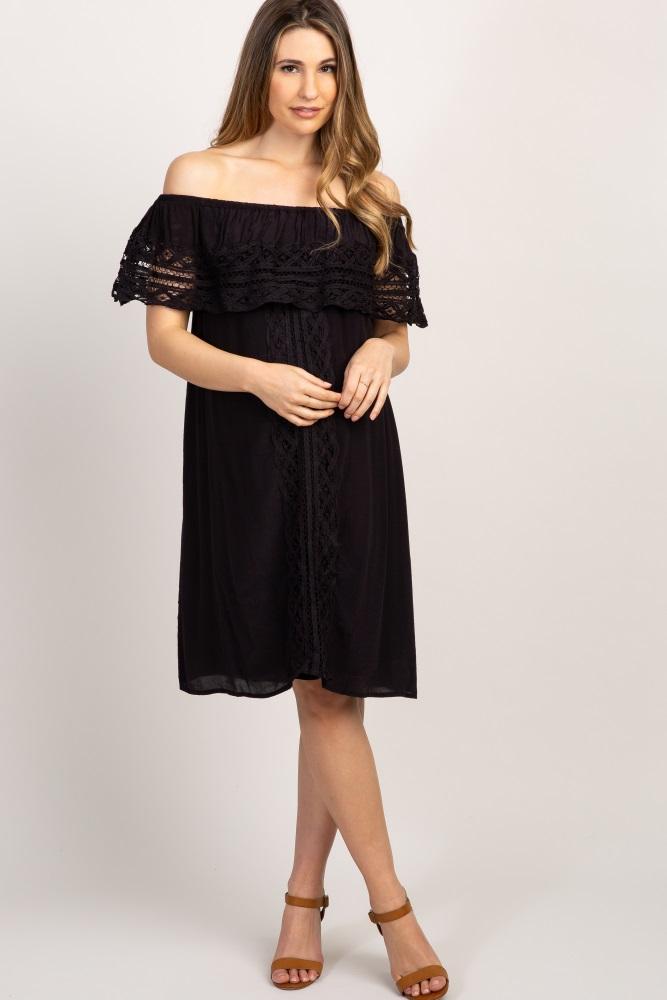fab76f5e53 Black Off Shoulder Crochet Accent Maternity Dress