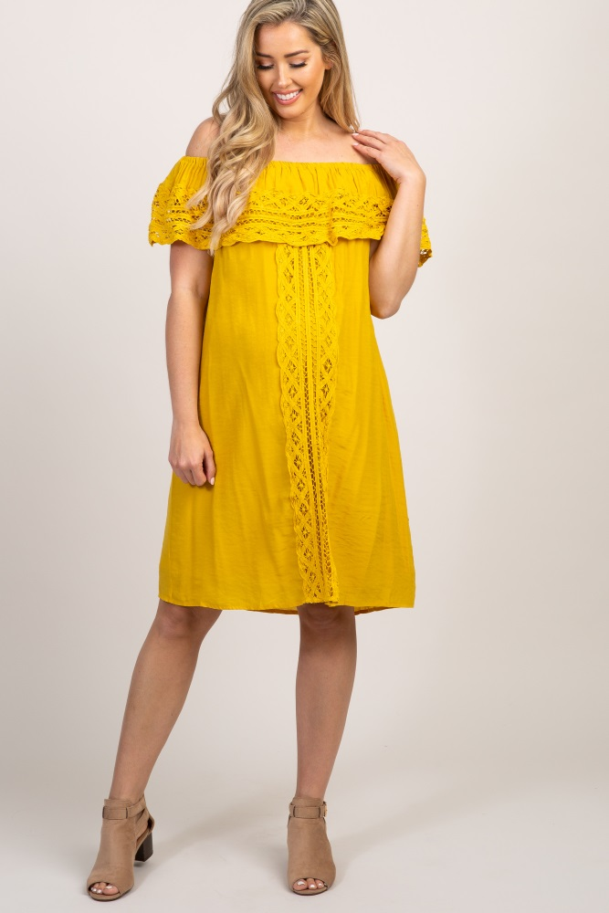 247c95c17a62e Yellow Off Shoulder Crochet Accent Maternity Dress