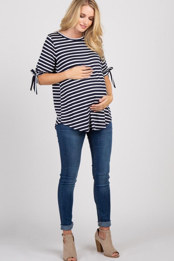 ee423250204df Navy Blue Striped Tie Sleeve Maternity Top