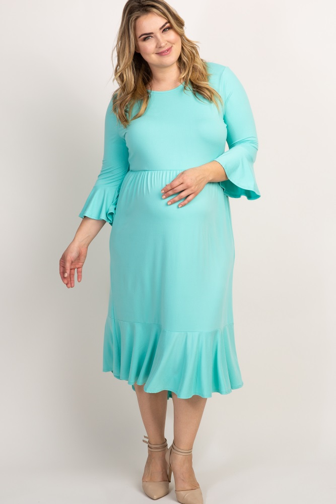 11e3d6cfeb334 Mint Green Ruffle Trim Hi Low Maternity Plus Dress