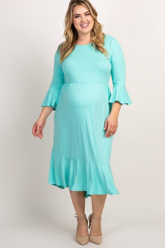 Mint Green Ruffle Trim Hi Low Maternity Plus Dress