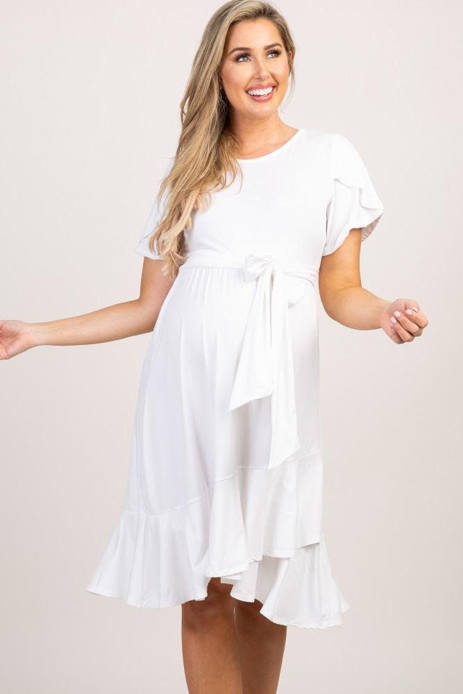 a595bf3e119 Ivory Solid Flounce Trim Maternity Dress