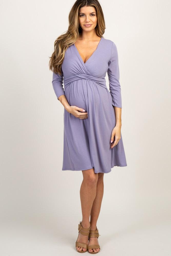 073484b5fa Lavender Wrap 3 4 Sleeve Maternity Nursing Dress