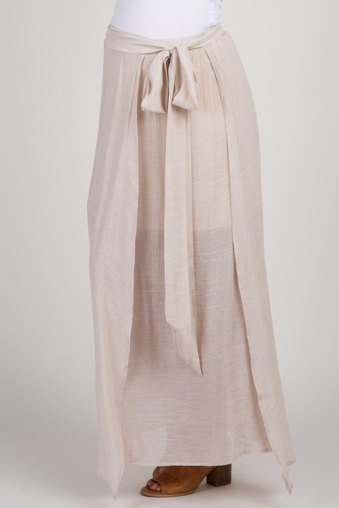 f9187f2aab5706 Beige Waist Tie Side Slit Maternity Maxi Skirt