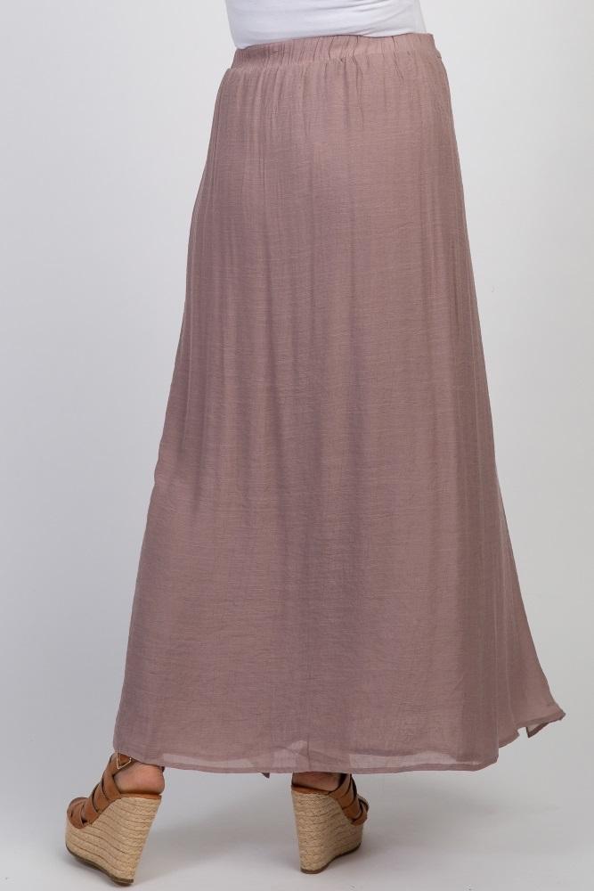 a94c780c57b6e1 Mauve Waist Tie Side Slit Maternity Maxi Skirt