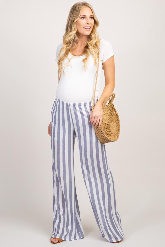 11311d905457c Navy Striped Maternity Pants