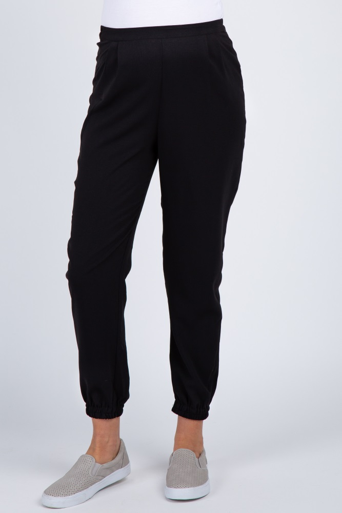 bottom price retail prices luxuriant in design Black Pleated Maternity Jogger Pants