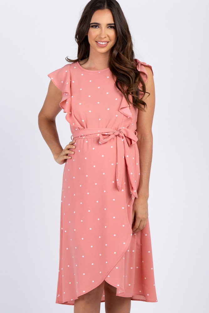 4a303989b7c0a Mauve Polka Dot Ruffle Sleeve Maternity Dress