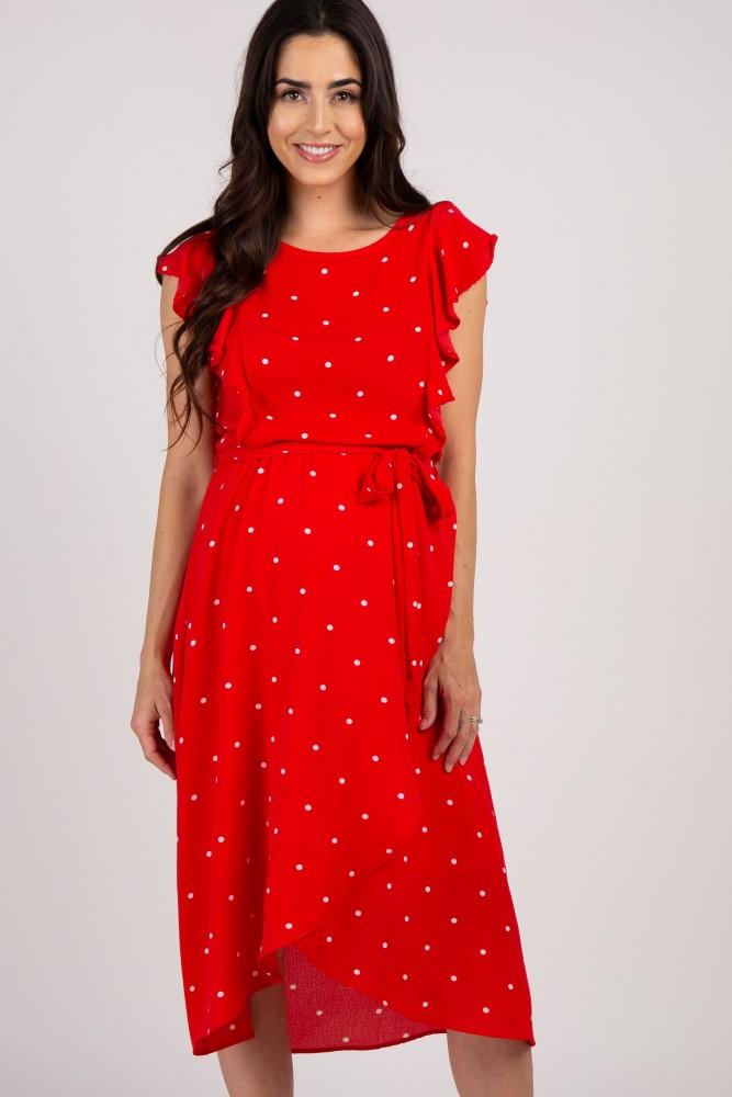 2e3653184fb70 Red Polka Dot Ruffle Sleeve Maternity Dress