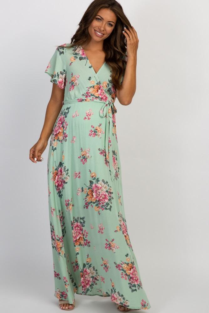 f7da5a8931 Mint Floral Wrap Top Maternity Maxi Dress