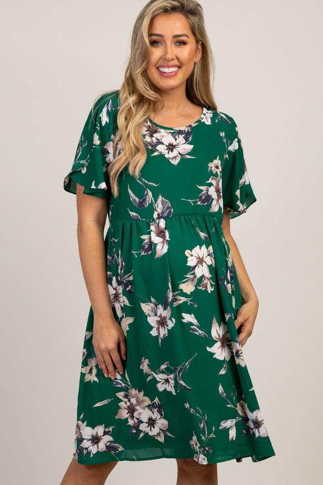 a77a6ba0ea9 Green Floral Ruffle Sleeve Maternity Dress