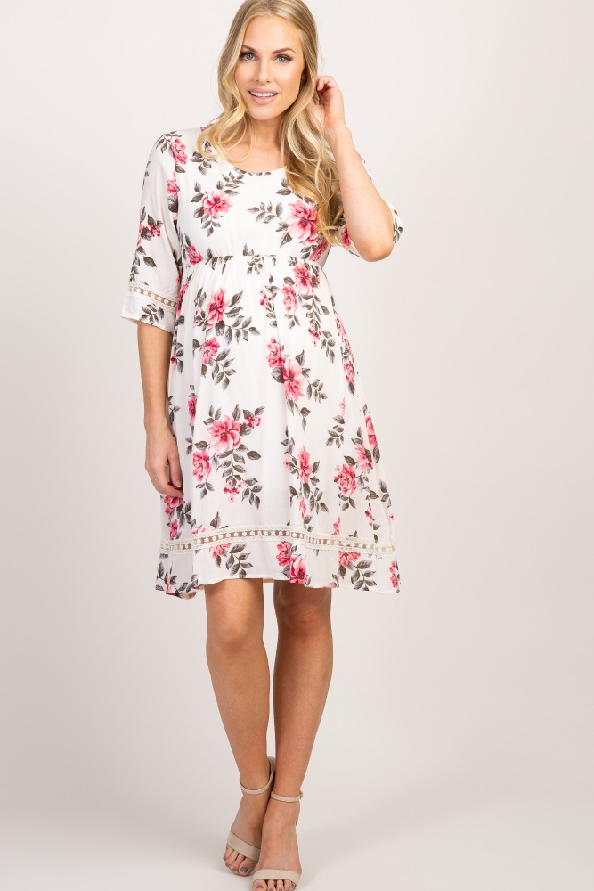 fd68b54874335 Ivory Floral Embroidered Maternity Dress