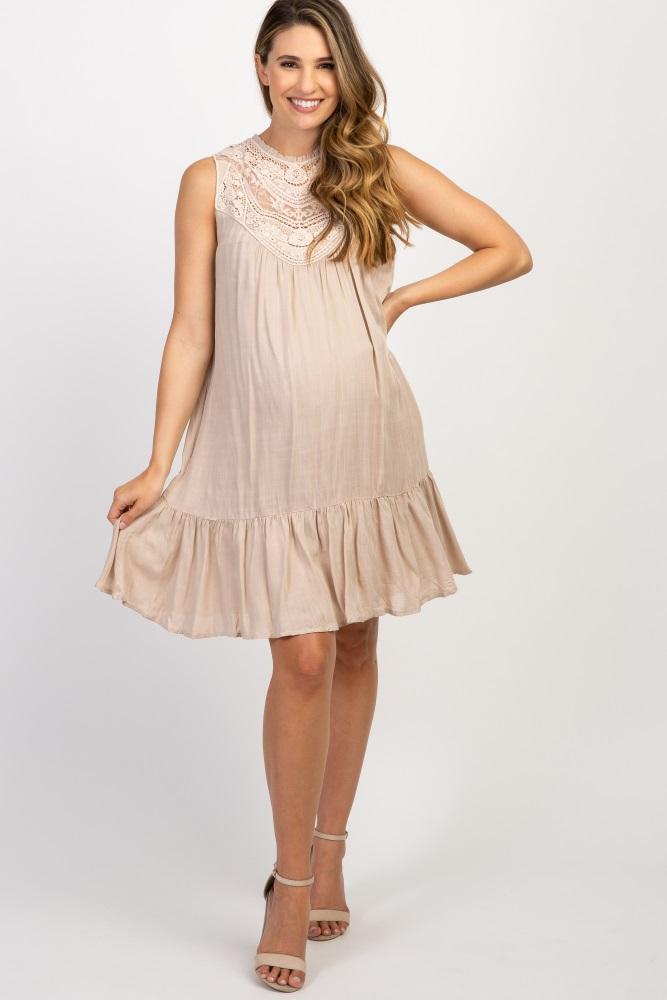 Beige Solid Crochet Neck Sleeveless Maternity Dress