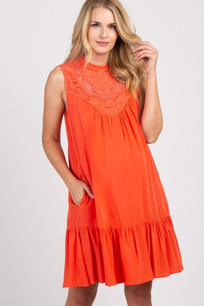 Orange Solid Crochet Neck Sleeveless Maternity Dress