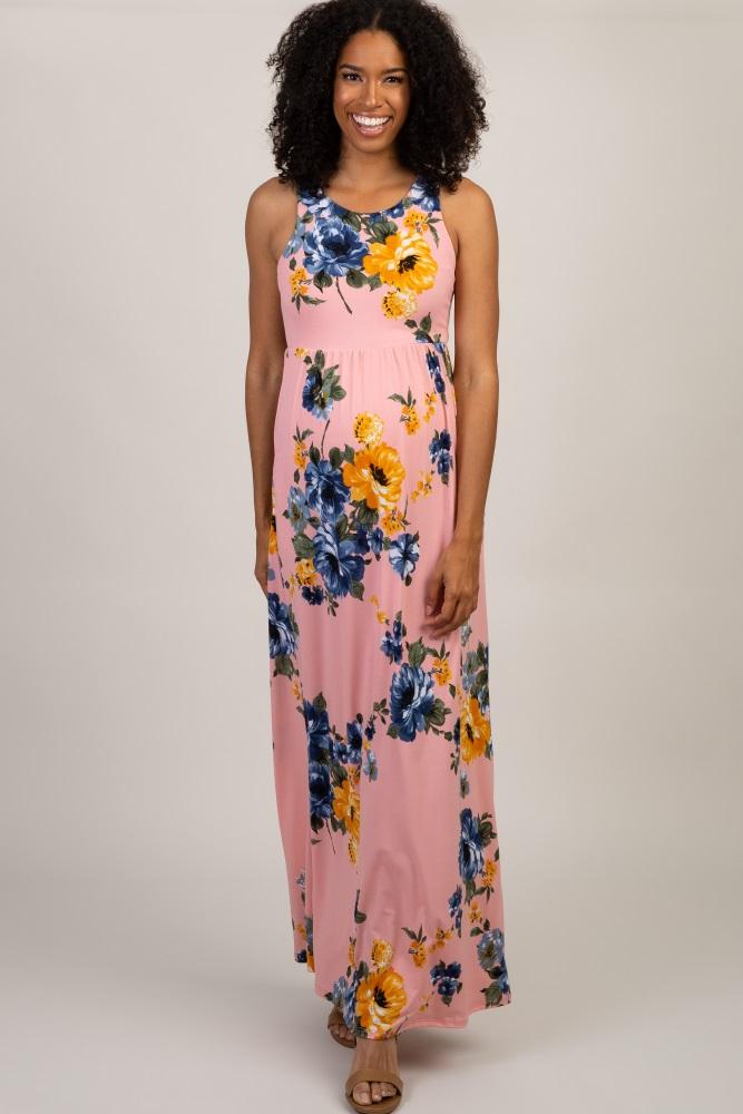 f892fdf7d8 Pink Floral Sleeveless Maternity Maxi Dress