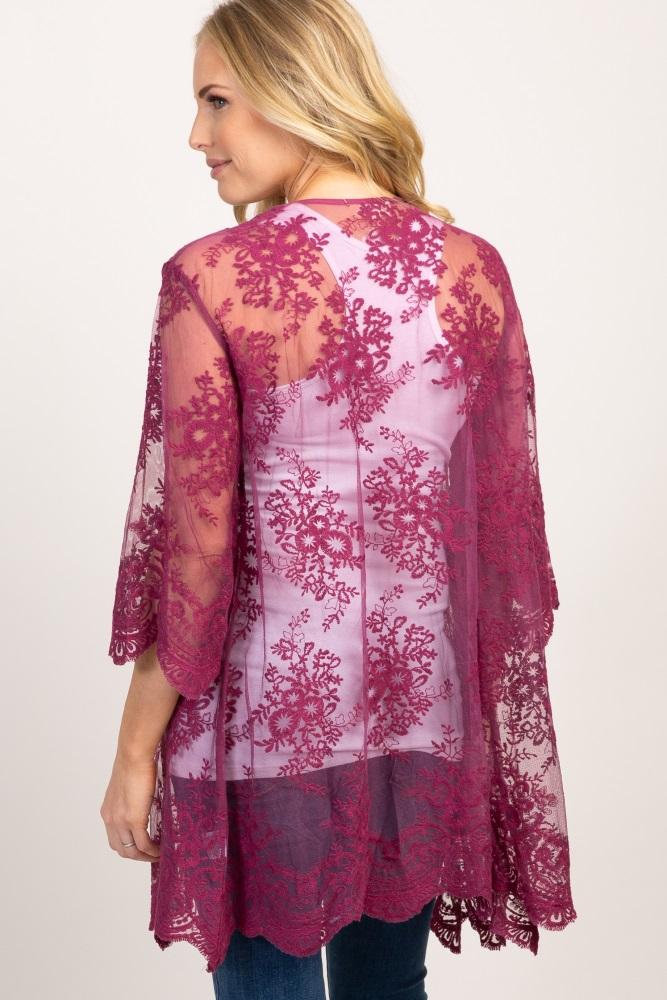 bd821c8da15f2 Magenta Lace Mesh Bell Sleeve Maternity Kimono
