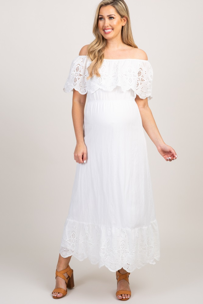 3c5f1044e697f White Eyelet Off Shoulder Maternity Maxi Dress