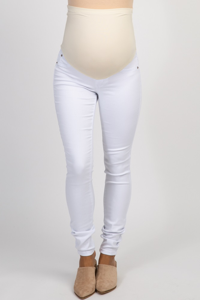 coupon codes cute watch White Basic Maternity Jeans