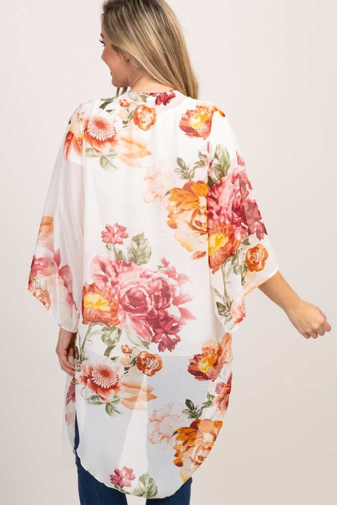 2591ef15a13 Ivory Floral Chiffon Long Maternity Kimono