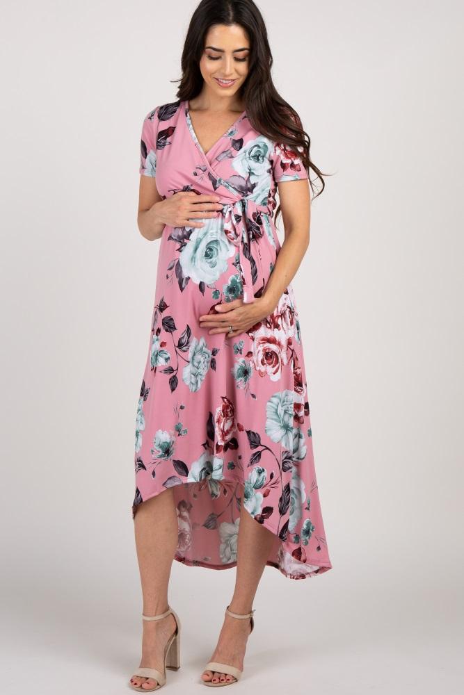 f4ed9ac2657ce Mauve Floral Hi Low Maternity Wrap Dress