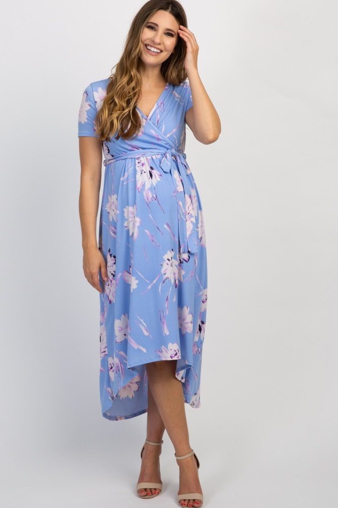 05b2c59beb698 Light Blue Floral Hi Low Midi Maternity/Nursing Wrap Dress