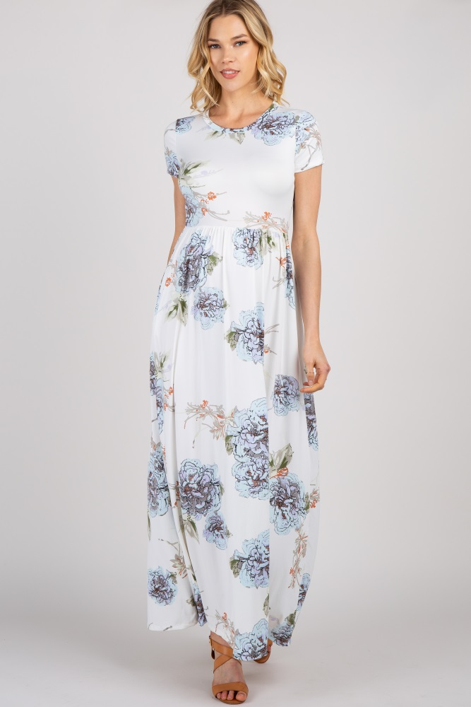 7bd2520b5cae2 Ivory Floral Print Short Sleeve Maternity Maxi Dress
