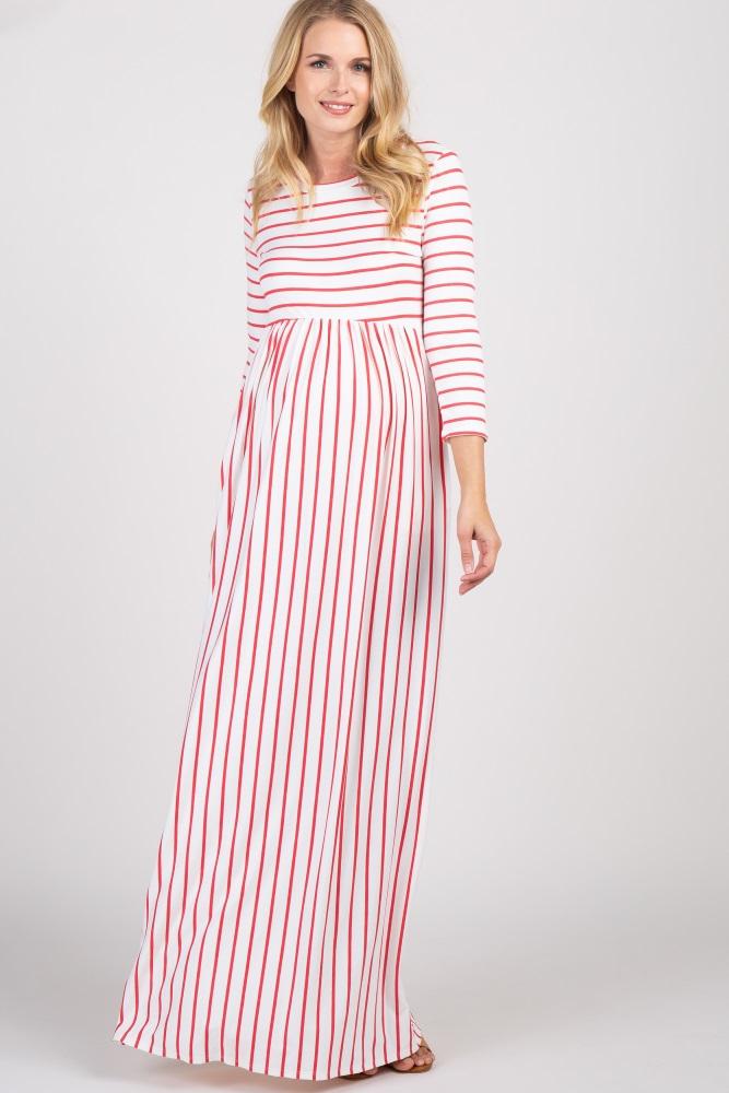 f57b6340a93bc Coral Striped Pleated Maternity Maxi Dress