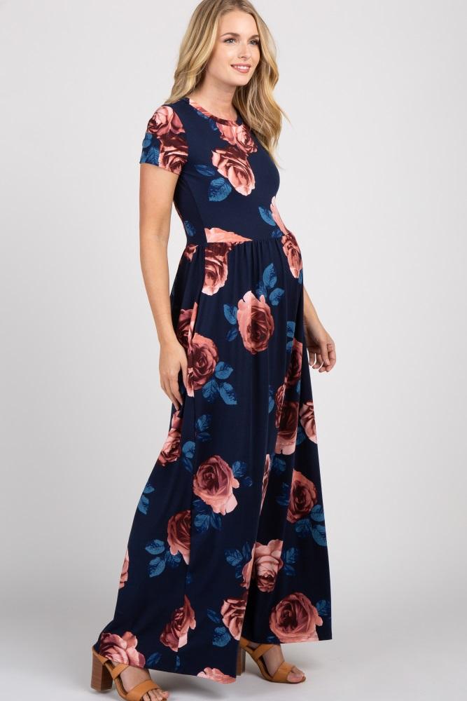20a683a419 Navy Blue Rose Floral Short Sleeve Maternity Maxi Dress