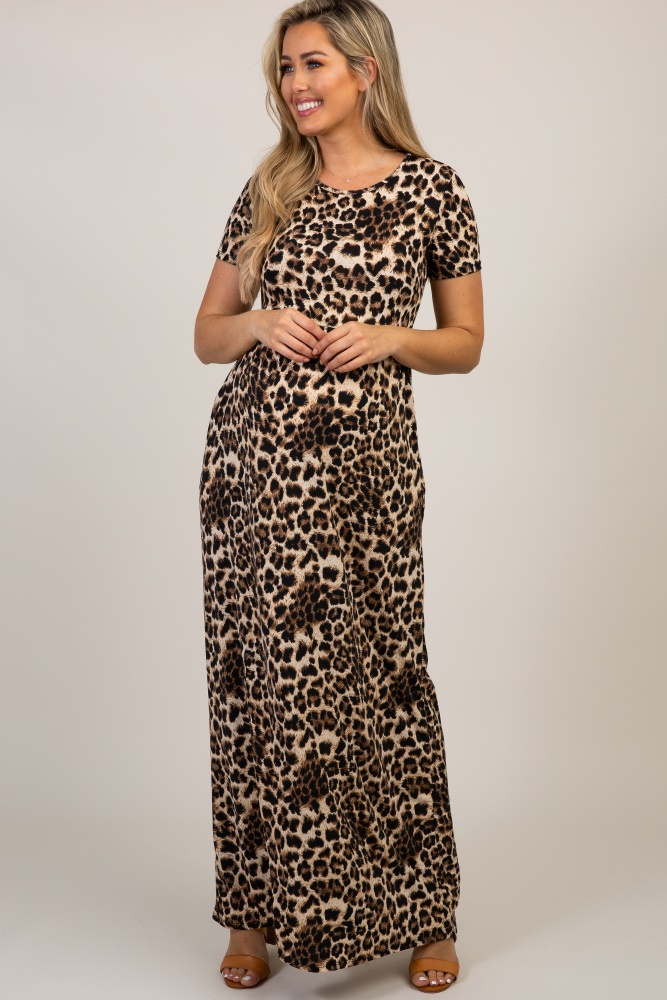 c82e60d00b9f0 Brown Leopard Print Short Sleeve Maternity Maxi Dress