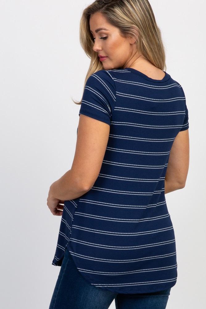 8b9607c514ef5 Navy Blue Striped Short Sleeve Maternity Top