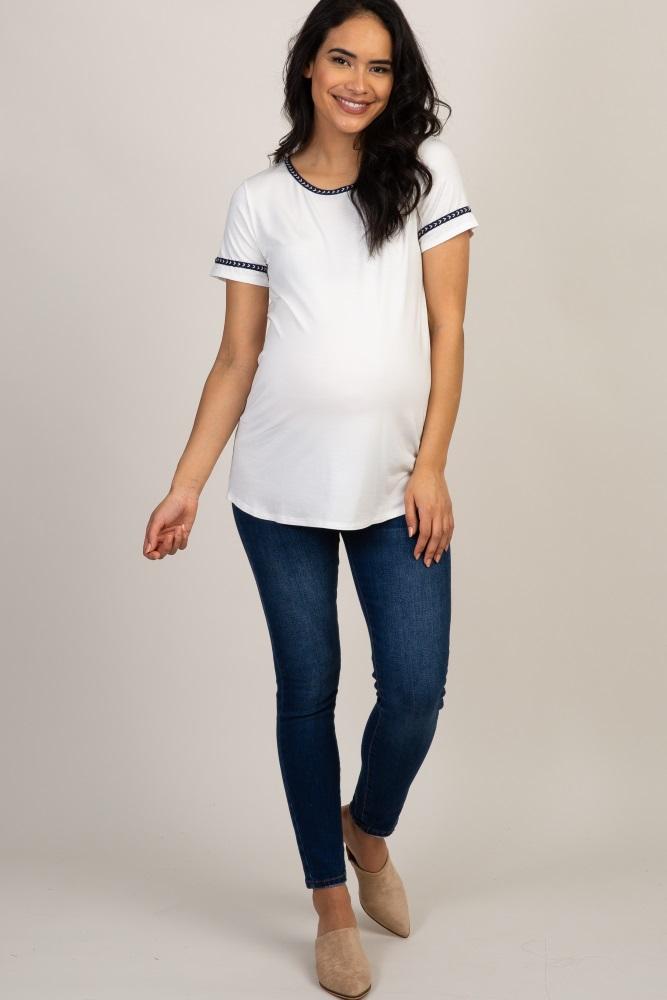 79ecb36451ad0 Ivory Short Sleeve Woven Trim Maternity Top