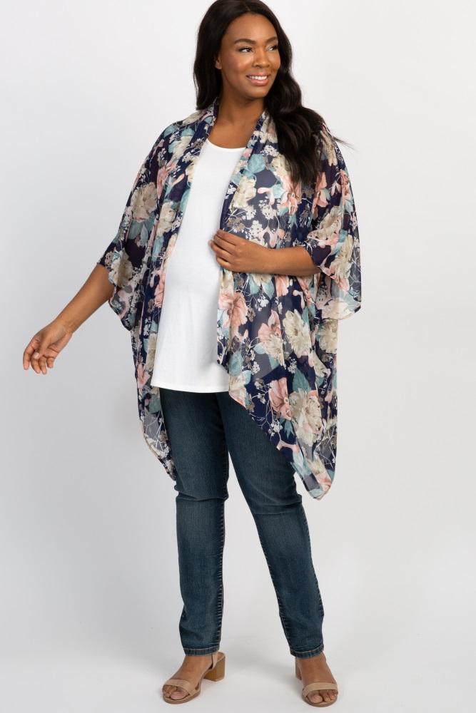 navy floral plus maternity kimono