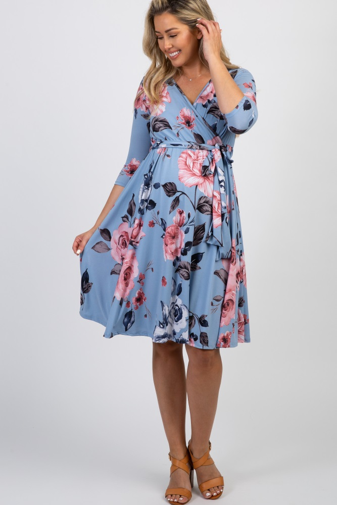 c03b4d1f8d427 Blue Floral Sash Tie Maternity/Nursing Wrap Dress