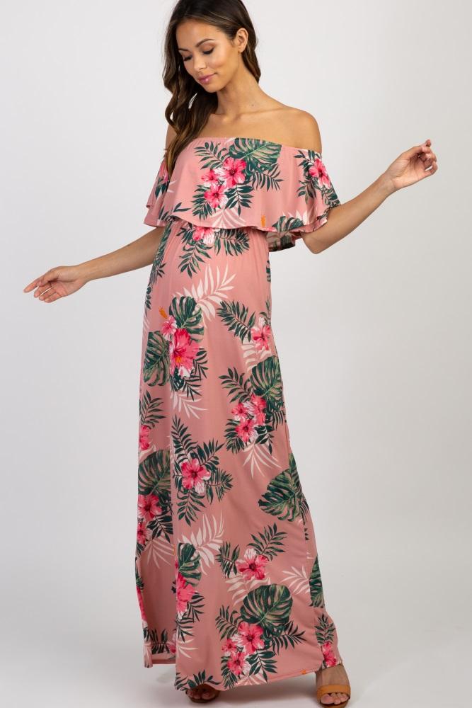 368fff7e2f24f Pink Floral Off Shoulder Maternity Maxi Dress