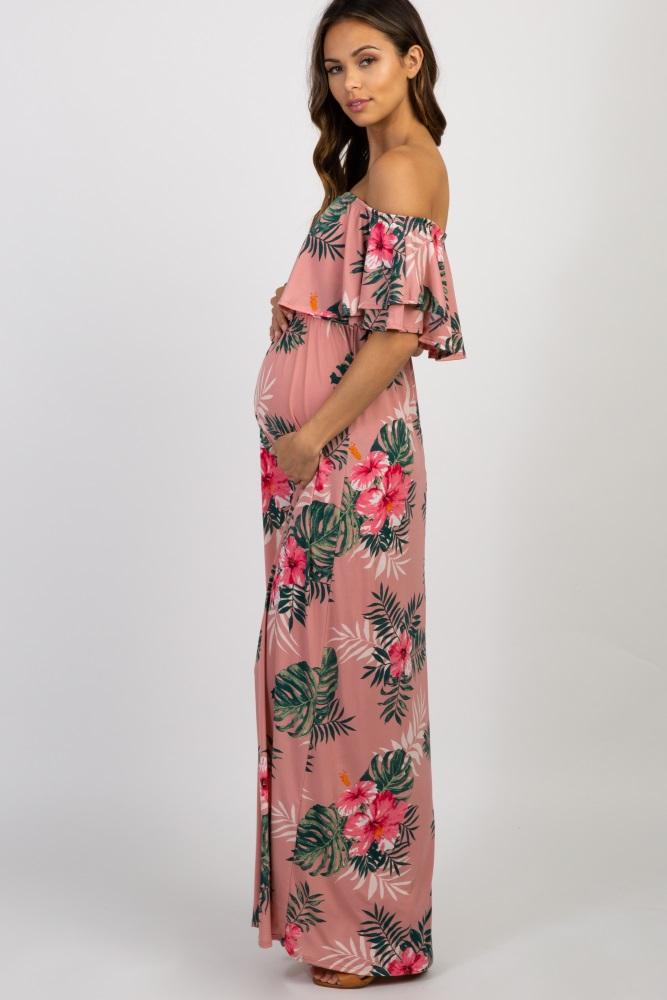 229a5f1a922c Pink Floral Off Shoulder Maternity Maxi Dress