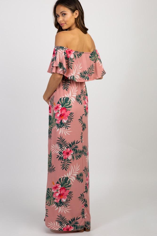 484d18946c Pink Floral Off Shoulder Maternity Maxi Dress