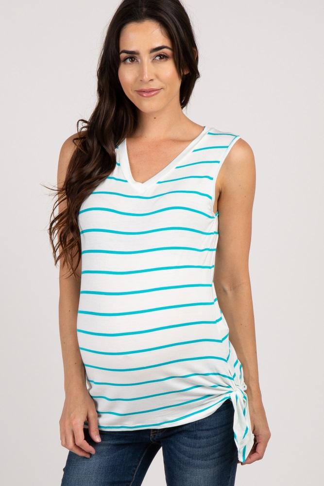 3ee3a50cbf Jade Striped Side Tie Sleeveless Maternity Top