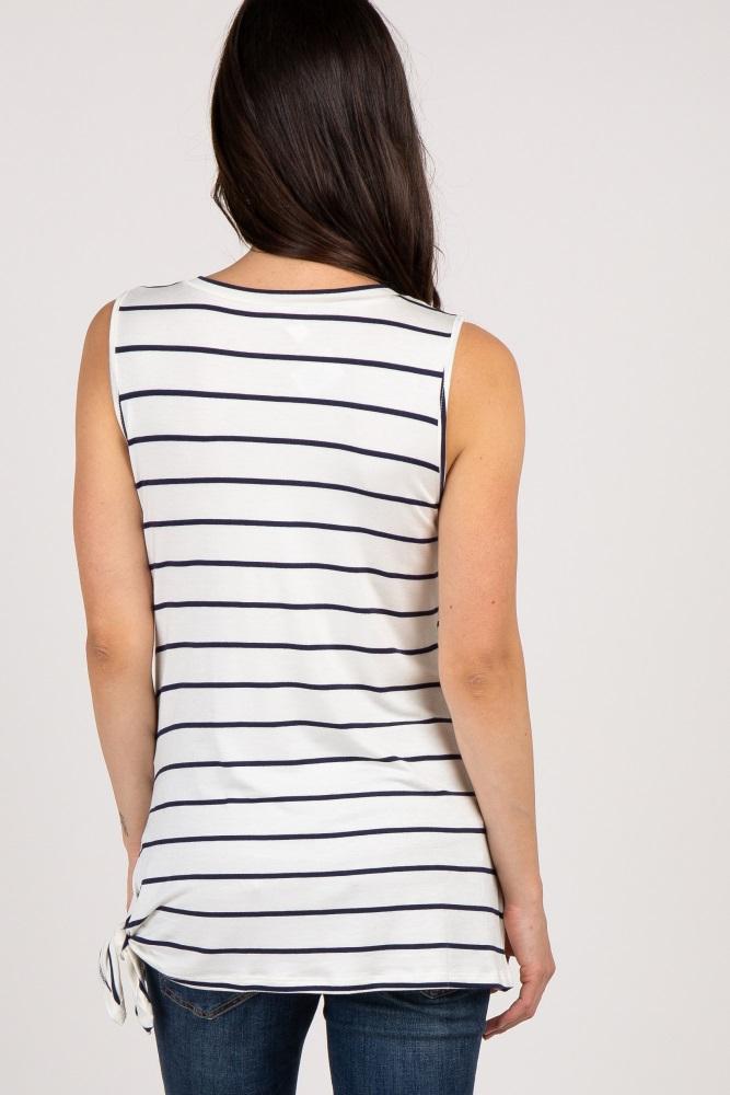 136ce835eb Navy Striped Side Tie Sleeveless Maternity Top
