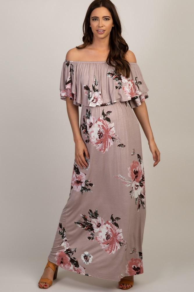 254b7444c9 Mauve Floral Off Shoulder Maternity Maxi Dress