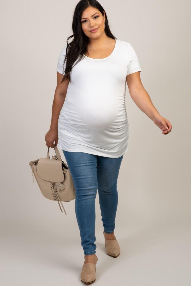 light blue elastic waistband maternity plus jeans