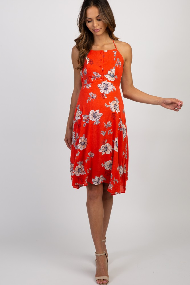 75b8ee7469525 Red Floral Halter Neck Maternity Dress