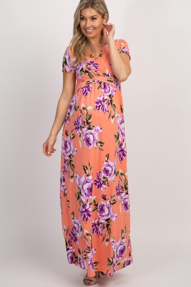 c2a68d7a0d8 Peach Floral Draped Maternity Nursing Maxi Dress